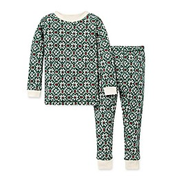 Burt's Bees Baby® 2-Piece Diamond Fair Isle Organic Cotton Pajama Set in Spinach