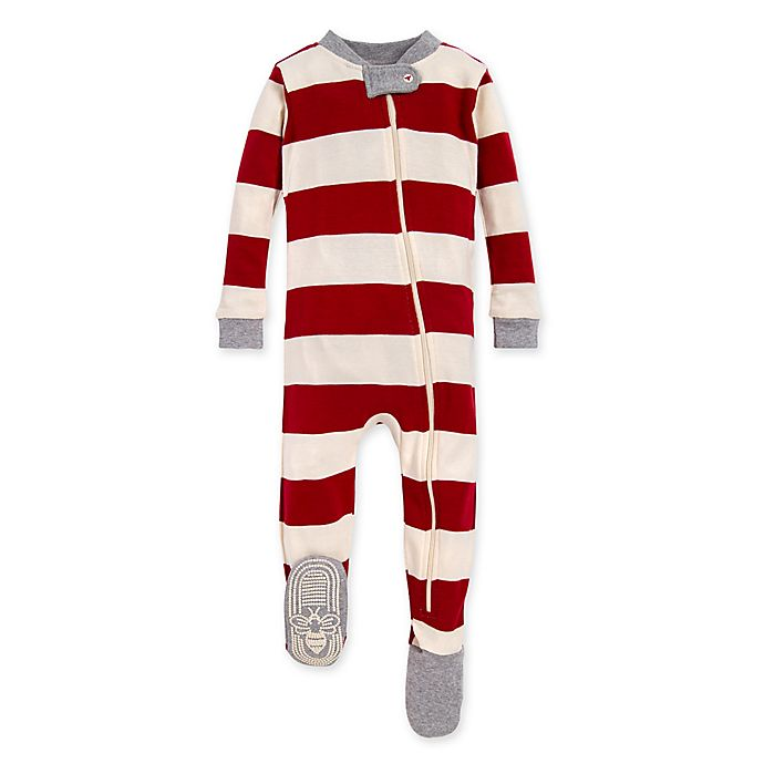 Alternate image 1 for Burt's Bees Baby® Rugby Stripe Organic Cotton Sleeper in Cranberry