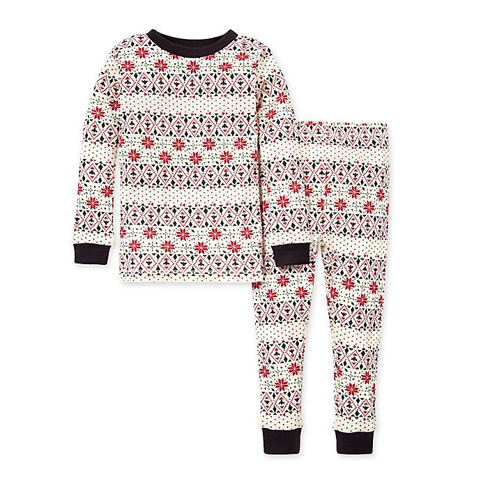 Alternate image 1 for Burt's Bees Baby® 2-Piece Bold Fair Isle Toddler Organic Cotton Pajama Set in Zinc