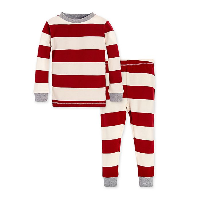 Alternate image 1 for Burt's Bees Baby® Rugby Stripe 2-Piece Organic Cotton Toddler Pajama Set