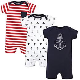 Hudson Baby® 3-Pack Captain Short Sleeve Rompers