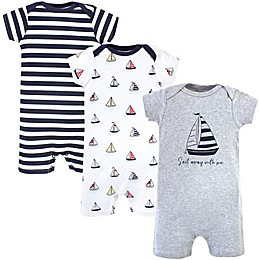 Hudson Baby® 3-Pack Sailboat Short Sleeve Rompers