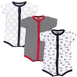 Hudson Baby® 3-Pack Ahoy Short Sleeve Rompers