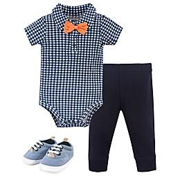Little Treasure® 3-Piece Collar Bodysuit, Pant, and Shoe Set in Blue