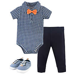 Little Treasure® 3-Piece Collar Bodysuit, Pant, and Shoe Set in Blue