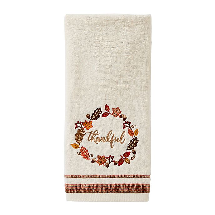 Alternate image 1 for Fall Wreath Hand Towels in Natural (Set of 2)