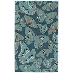 Kaleen Rugs Critter Comforts Butterfly 3' x 5' Accent Rug in Blue