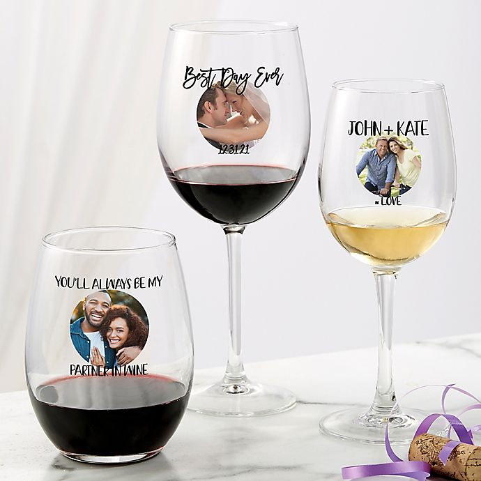 Alternate image 1 for Photo Message For Couple Personalized Wine Glasses