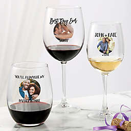 Photo Message For Couple Personalized Wine Glasses