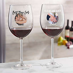 Photo Message For Couple Personalized 19.25 oz Red Wine Glass