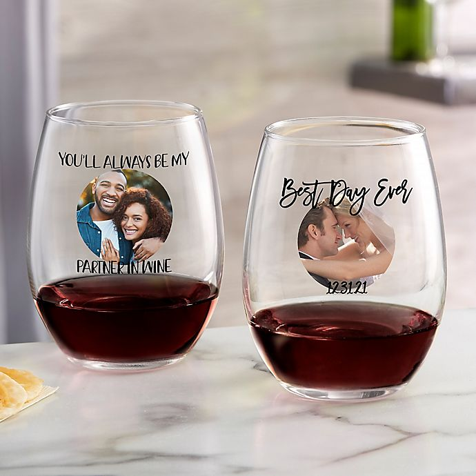 Alternate image 1 for Photo Message For Couple Personalized 21 oz Stemless Wine Glass