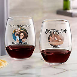 Photo Message For Couple Personalized 21 oz Stemless Wine Glass