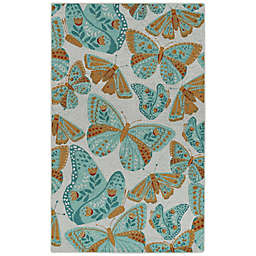 Kaleen Rugs Critter Comforts Butterfly 5' x 8' Area Rug in Light Blue