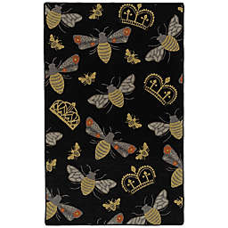 Kaleen Rugs Critter Comforts Bees 5' x 8' Area Rug in Black