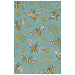 Kaleen Rugs Critter Comforts Bees 3' x 5' Accent Rug in Light Blue