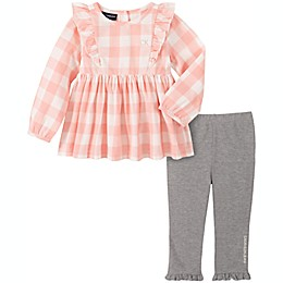 Calvin Klein 2-Piece Plaid Top and Legging Set in Pink/Grey