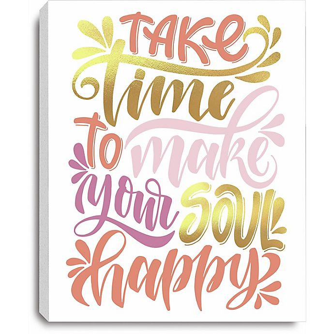 Alternate image 1 for RoomMates® Soul Happy 10-Inch x 8-Inch Canvas Wall Art in Pink/Yellow
