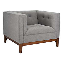 Safavieh Garnet Linen Tufted Arm Chair in Light Grey