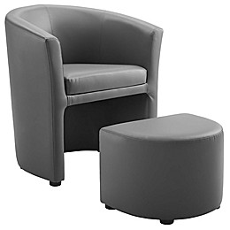 Modway Divulge Armchair and Ottoman Set in Grey