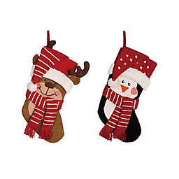 Glitzhome® 3D Penguin & Reindeer Hooked Stockings (Set of 2)
