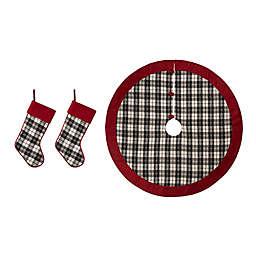 Glitzhome® 3-Piece Stocking and Tree Skirt Set in Black/White Plaid