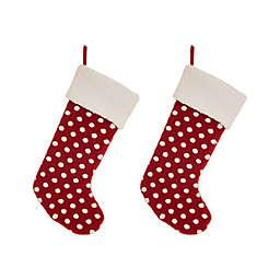 Glitzhome® 20-Inch Pom Pom Stockings in Red (Set of 2)