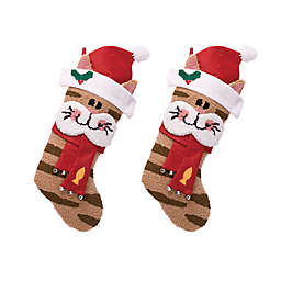 Glitzhome® Hooked 3D Cat Stockings (Set of 2)