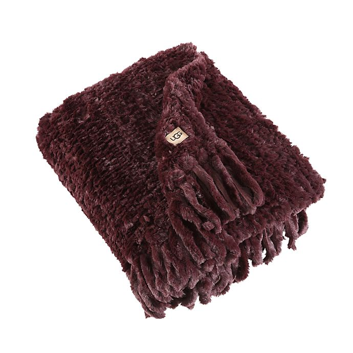 Alternate image 1 for UGG® Meadow Hand-Knitted Throw Blanket in Cabernet