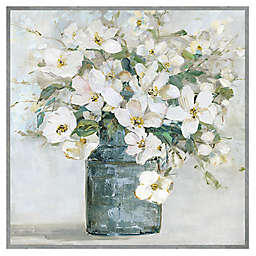 White Florals 31-Inch Square Framed Canvas Wall Art