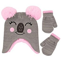 Addie & Tate 2-Piece Koala Critter Hat and Mitten Set in Grey