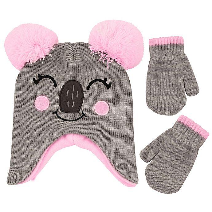 Alternate image 1 for Addie & Tate 2-Piece Koala Critter Hat and Mitten Set in Grey