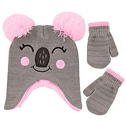 Addie & Tate Infant 2-Piece Koala Critter Hat and Mitten Set in Grey