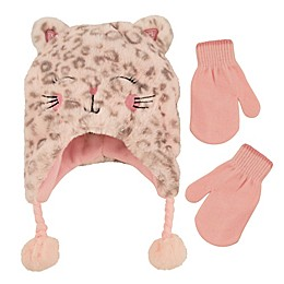 Addie & Tate Infant 2-Piece Leopard Critter Hat and Mitten Set in Pink