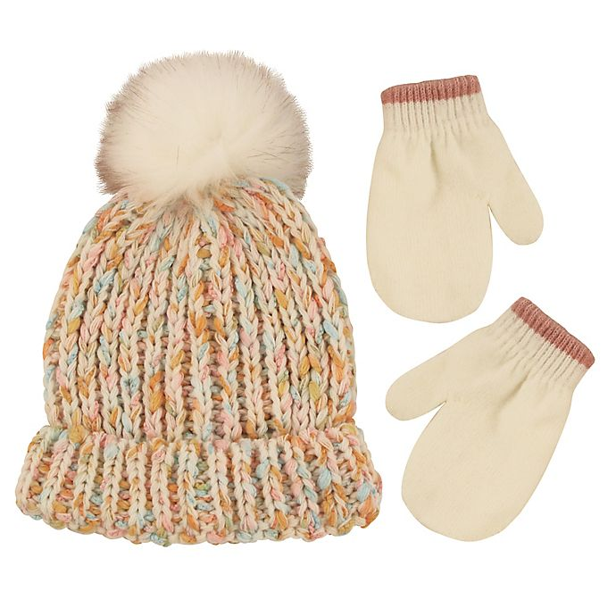 Alternate image 1 for Addie & Tate 2-Piece Speckled Pom Hat and Mitten Set in Ivory
