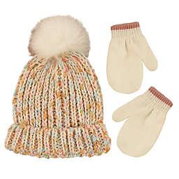 Addie & Tate 2-Piece Speckled Pom Hat and Mitten Set in Ivory