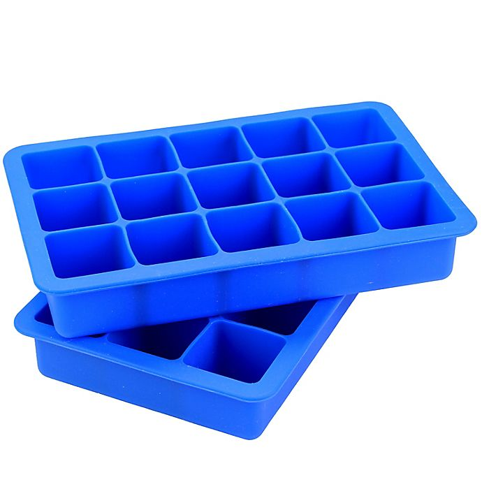 Alternate image 1 for SALT™ Blue Silicone Ice Cube Trays (Set of 2)