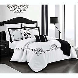 Bellini 8-Piece Reversible Full/Queen Comforter Set in White