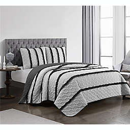 Charlene 3-Piece Reversible Quilt Set in White