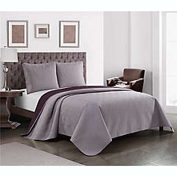 Elizabeth 3-Piece Reversible Full/Queen Quilt Set in Purple