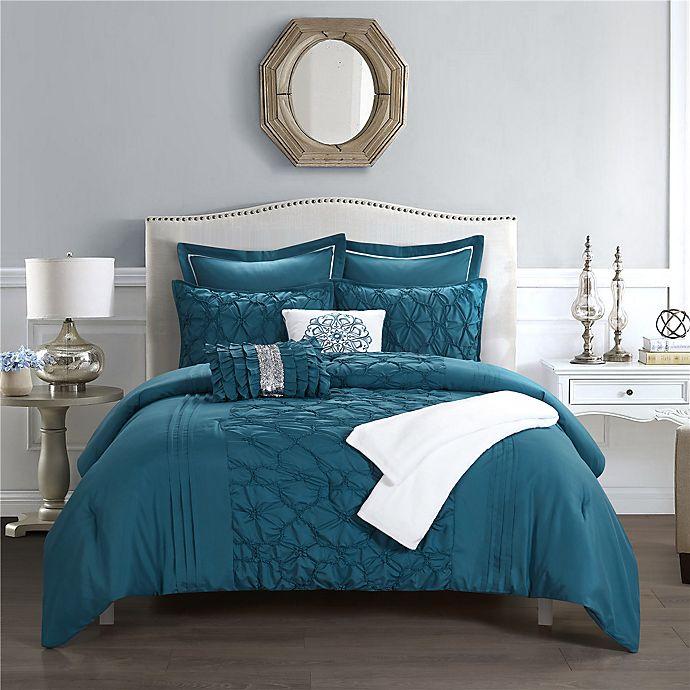 Alternate image 1 for Shantel 8-Piece Reversible Full/Queen Comforter Set in Blue