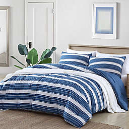 Nautica® Vintage Crew Stripe 3-Piece Reversible Comforter Set in Denim Blue