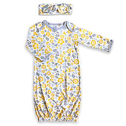 Modern Baby® Newborn 2-Piece Floral Gown and Hat Set in Yellow/Grey