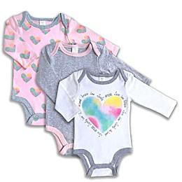Modern Baby® 3-Pack Heart Bodysuits in White