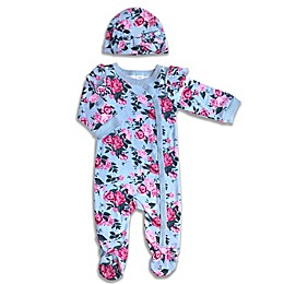 Modern Baby® 2-Piece Floral Footie and Hat Set in Grey