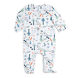 aden + anais® Dinotime Zip Muslin Footie in Blue