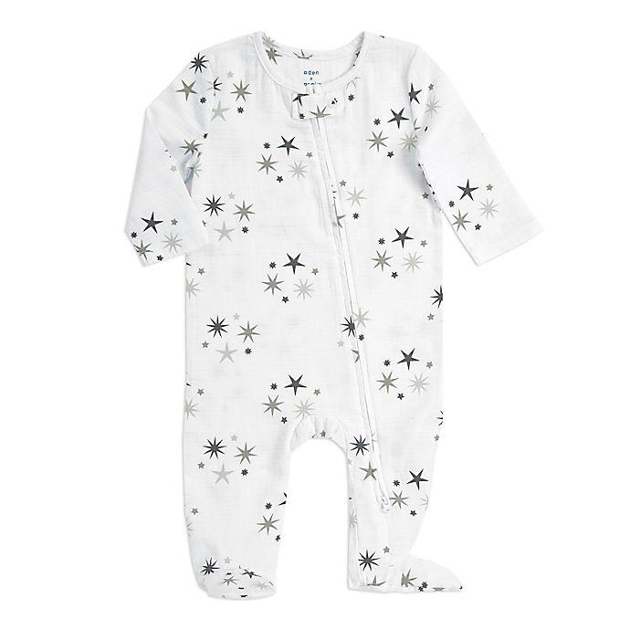 Alternate image 1 for aden + anais® Star Cluster Zip Muslin Footie in Grey