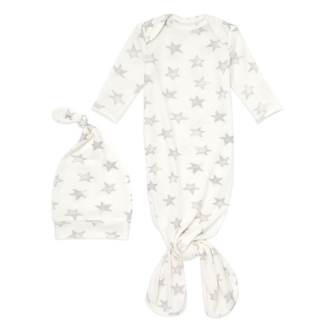 Alternate image 1 for aden + anais® 2-Piece Star Comfort Knit Gown and Hat Set in Grey