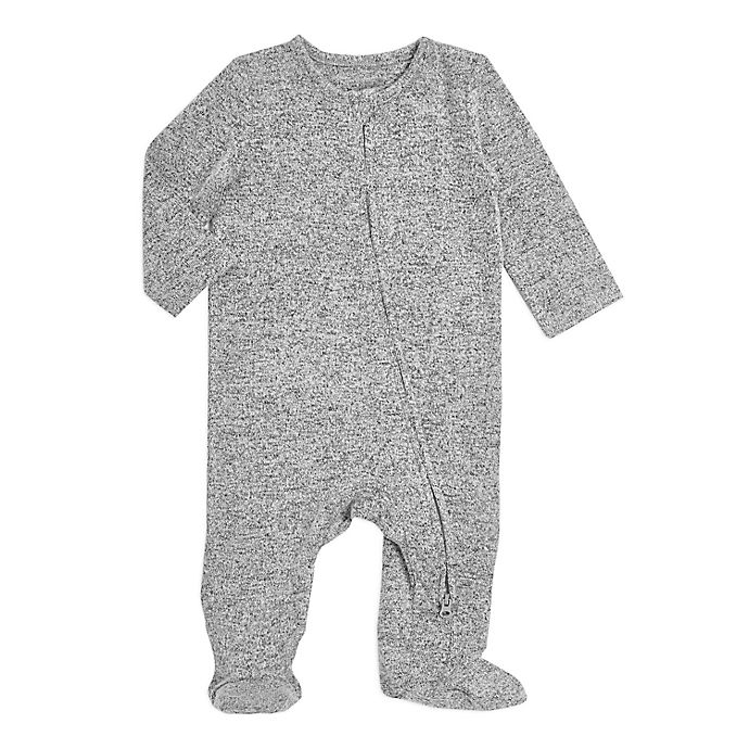 Alternate image 1 for aden + anais® Snuggle Knit Footie in Grey Stripe
