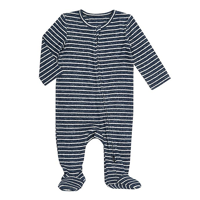 Alternate image 1 for aden + anais® Snuggle Knit Footie in Navy Stripe