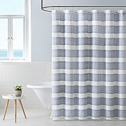 Parrot Cay Stripe Seal Grey Shower Curtain